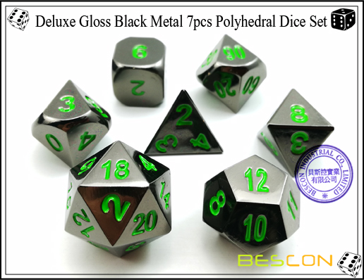 Deluxe Gloss Black Metal 7pcs Polyhedral Dice Set-2