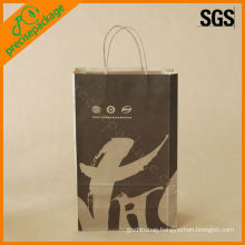 fashion recycled OEM paper handle printed brown kraft paper bags