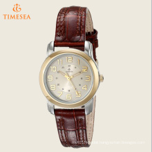 Women′s Elevated Classics Two-Tone Watch with Brown Leather Strap 71182