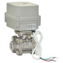 3 piezas válvula de control de flujo eléctrico de acero inoxidable válvula de bola con CE (A100-T15-s2-C)