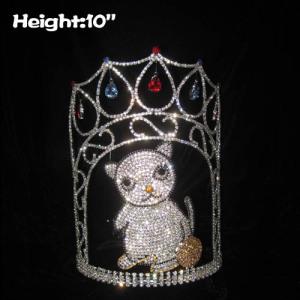 Coroas personalizadas do concurso de cristal do gato da altura 10in