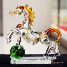 Bonito vaso de cristal corriendo caballo para regalo de recuerdo
