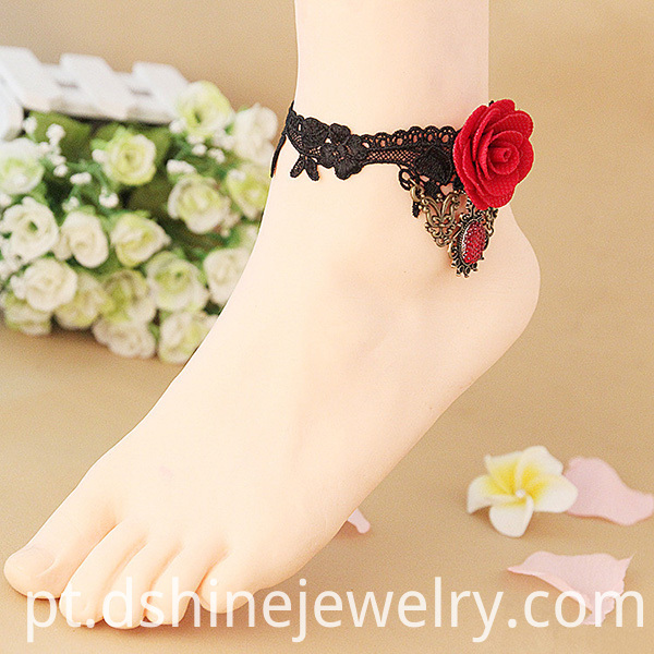 Gothic Style Foot Jewelry With Red Rose
