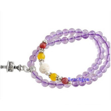 Natural Amethyst Beads Bracelet with Silver Charm (BRG0012)
