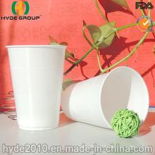 Tasse en plastique jetable blanche en gros avec la ligne sur le corps