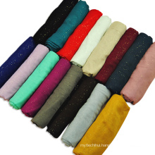 Top selling Trend women fashion printed scarf plain viscose gilted hijab