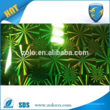 Película reflectante holográfica autoadhesiva en diversos colores de los diseños