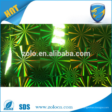 Self adhesive holographic reflective film in different designs colors