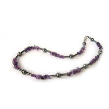 Hematite Amethyst gemstone necklace