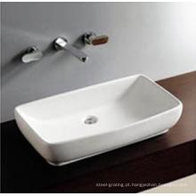 Tigela de arte banheiro um buraco Counter Top mão lavagem pia em branco