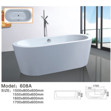 Bañera de inmersión independiente de acrílico simple para la familia Bañera de baño blanca de una persona al aire libre acrílico