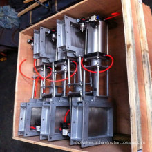 Válvula de porta da faca do aço carbono do porto do quadrado da operação pneumática