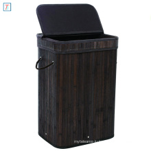 Bamboo Laundry Hamper Storage Basket Folding Dirty Clothes Hamper with Lid Handles and Removable Liner