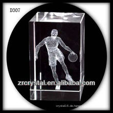 Laser K9 3D, der Basketball innerhalb des Kristall-Rechtecks spielt