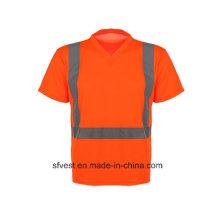 Camisa polo reflectora de manga curta com pescoço V