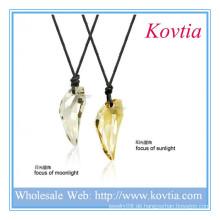 Einzigartiges Design Leder Seil Kristall Anhänger Paar Halskette