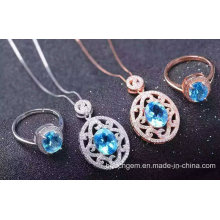 Fashion Blue Topaz Jewellery Set (S2649)