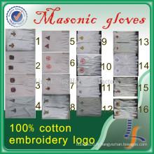 Gants maçonniques en coton blanc de vente chaude