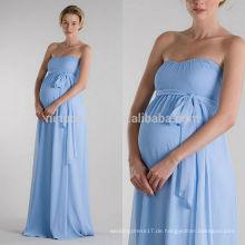 2014 Simple Blue Schwangere Hochzeitskleid Sweetheart Full-Length Empire Mutterschaft Brautkleid mit Schärpe Billig Online Shop NB0891