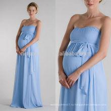 2014 простой синий беременных свадебное платье милая полная Длина платья материнства свадебное платье с поясом недорого Интернет-Магазин NB0891
