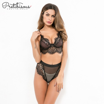 Komplet damski Stretch Lace i Fishnet Bra