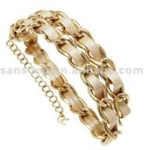 Rangkaian emas wanita dan PU stranding gelang