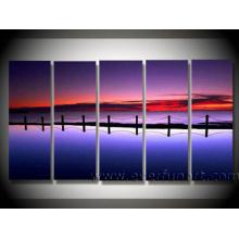 Handmade Seascape Art Bridge Oil Painting on Canvas (LA5-042)