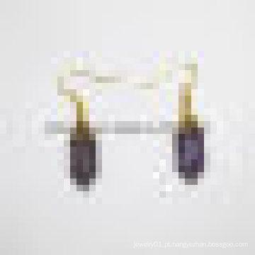Pedra Preciosa Cristal Gemstone Amethyst Quartz Earring