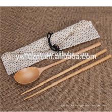 Cheap custom logo travel meal set cuchara de sopa de madera con palillos
