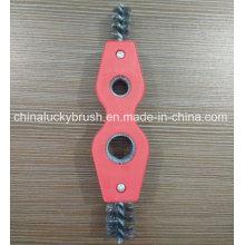 Dos agujeros de acero inoxidable tubo de alambre industrial cepillo (YY-532)