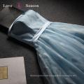LSQ077 off shoulder natural waist blue dress formal evening gown dress evening gown long