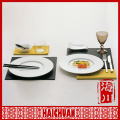 2014 ceramic decorate dinner plate with custom design with metal handle
