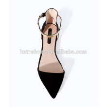 2015 new fashion women flat black lady sandals point causal shoes Gold clasp