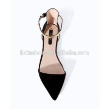 2015 новых женщин моды плоские черные леди сандалии указывают причинной обуви Золотой застежка