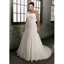 Chiffon Over Satin A-line Scoop Neck Chapel Train Appliques Plus Size Wedding Dress