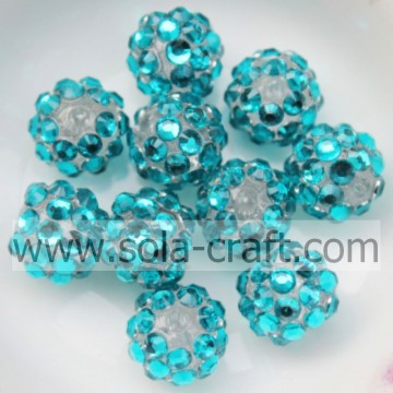 10*12MM Turquoise Resin Rhinestone Shiny Acrylic Loose Round Jewelry Beads