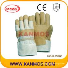 Guantes de seguridad industrial de trabajo de cuero de grano de cerdo amarillo (22003)