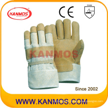 Yellow White Pig Grain Leather Work Industrial Safety Gloves (22003)