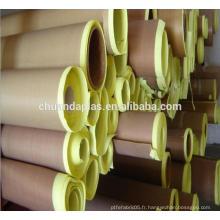 Chine Rohs certifié Tissu en téflon PTFE haute isolation avec adhésif en silicone avec papier jaune