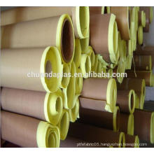 China Rohs certified High insulation PTFE teflon cloth with silicone adhesive with yellow release paper