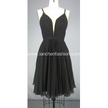 Knee Length Black Chiffon Dress Cocktail Dress