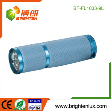 Factory Wholesale Cheap 3*AAA battery Powered Portable Emergency Glow in the Dark 9 led Multi Color Flashlight