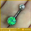 Anneau chirurgical en acier chirurgical Opal Green Fire Opal Belly Ring