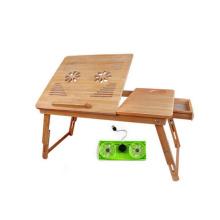 mesa feito por encomenda de bambu do computador por atacado com fã do usb