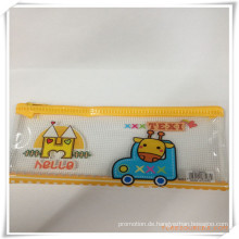 Giraffen-Karikatur-Maschen-und PVC-Reißverschluss-Bleistift-Tasche / Fall für Förderung