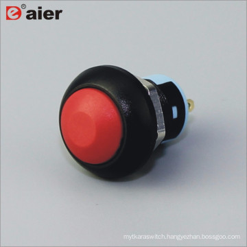 Black Tactile Electric Latching Waterproof Pushbuttons 12mm