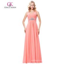 Grace Karin Sleeveless V-Neck Chiffon Pink Prom Dress Long GK000128-1