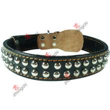 Negro Collar de perro de cuero remache para accesorios de mascotas (PC-18)