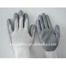 Gants de travail enduits de nitrile de sécurité industrielle de nylon de calibre 13 ZM818-H