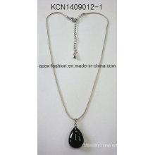 Metal Silver Plated Necklace with Black Oval Stone Pendant